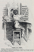 Female shop assistant doing a man's job in World War I unable to forget her commercial training. Cartoon from 'Punch', London, 1915.