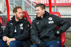 (L-R) Michel Breuer of Sparta Rotterdam, Michiel Kramer of Sparta Rotterdam during the Dutch Eredivisie match between FC Twente Enschede and Sparta Rotterdam at the Grolsch Veste on February 18, 2018 in Enschede, The Netherlands
