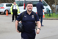 AFC Wimbledon coach Simon Bassey arriving during the The FA Cup 5th round match between AFC Wimbledon and Millwall at the Cherry Red Records Stadium, Kingston, England on 16 February 2019.