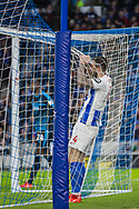 Shane Duffy (Brighton) arrives in the back of the net after an attempt at goal during the FA Cup fourth round match between Brighton and Hove Albion and West Bromwich Albion at the American Express Community Stadium, Brighton and Hove, England on 26 January 2019.