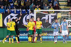 referee Stan Teuben gives a yellow card to Djibril Dianessy of Fortuna Sittard and a penalty to FC Eindhoven during the Jupiler League match between Fortuna Sittard and FC Eindhoven at the Fortuna Sittard Stadium on October 20, 2017 in Sittard, The Netherlands