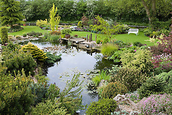 The rock garden, pond and canal. Wooden deck jetty, white bench seat