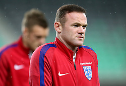 Wayne Rooney and Jamie Vardy of England arrive at The SRC Stozice Stadium ahead of the World Cup Qualifier against Slovenia - Mandatory by-line: Robbie Stephenson/JMP - 10/10/2016 - FOOTBALL - SRC Stozice - Ljubljana, England - England Press Conference