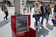 """On US President Donald Trump's first day of a controversial three-day state visit to the UK by the 45th American President, copies of the Evening Standard with the headline """"All guns blazing"""" after his uncomplimentary comments about London Mayor Sadiq Khan, on 3rd June 2019, in London England."""