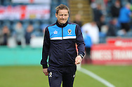 Neal Ardley, the AFC Wimbledon manager approaches the touchline before the start of the 2nd half. Skybet football league two match, Wycombe Wanderers  v AFC Wimbledon at Adams Park  in High Wycombe, Buckinghamshire on Saturday 2nd April 2016.<br /> pic by John Patrick Fletcher, Andrew Orchard sports photography.