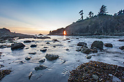 The tide rushes out at sunset on Second Beach, near the tip of the Olympic Peninsula.