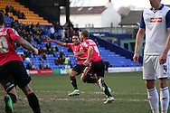 Oldham Athletic's James Wesolowski celebrates after scoring his teams 1st goal. Skybet football league 1match, Tranmere Rovers v Oldham Athletic at Prenton Park in Birkenhead, England on Saturday 1st March 2014.<br /> pic by Chris Stading, Andrew Orchard sports photography.