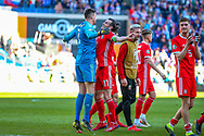 Wales goalkeeper Wayne Hennessey and Wales midfielder Gareth Bale celebrate at full time during the UEFA European 2020 Qualifier match between Wales and Slovakia at the Cardiff City Stadium, Cardiff, Wales on 24 March 2019.