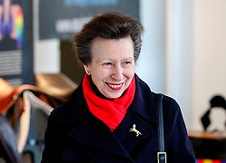 The Princess Royal, Vice-Patron of the equine charity, The British Horse Society, visiting the Addington Equestrian Centre near Buckingham. PA Photo. Picture date: Monday March 16, 2020. During the visit she watched a display of world-class coaching demonstrations from top coaches, before giving a speech about the importance of having qualified coaches within the equestrian industry. See PA story ROYAL Anne. Photo credit should read: Steve Parsons/PA Wire