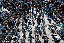 A sea of custom Harleys were on display at the Chopper Time Old School Bike Show at Willie's Tropical Tattoo during Daytona Bike Week. Ormond Beach, FL. USA. Thursday March 16, 2017. Photography ©2017 Michael Lichter.