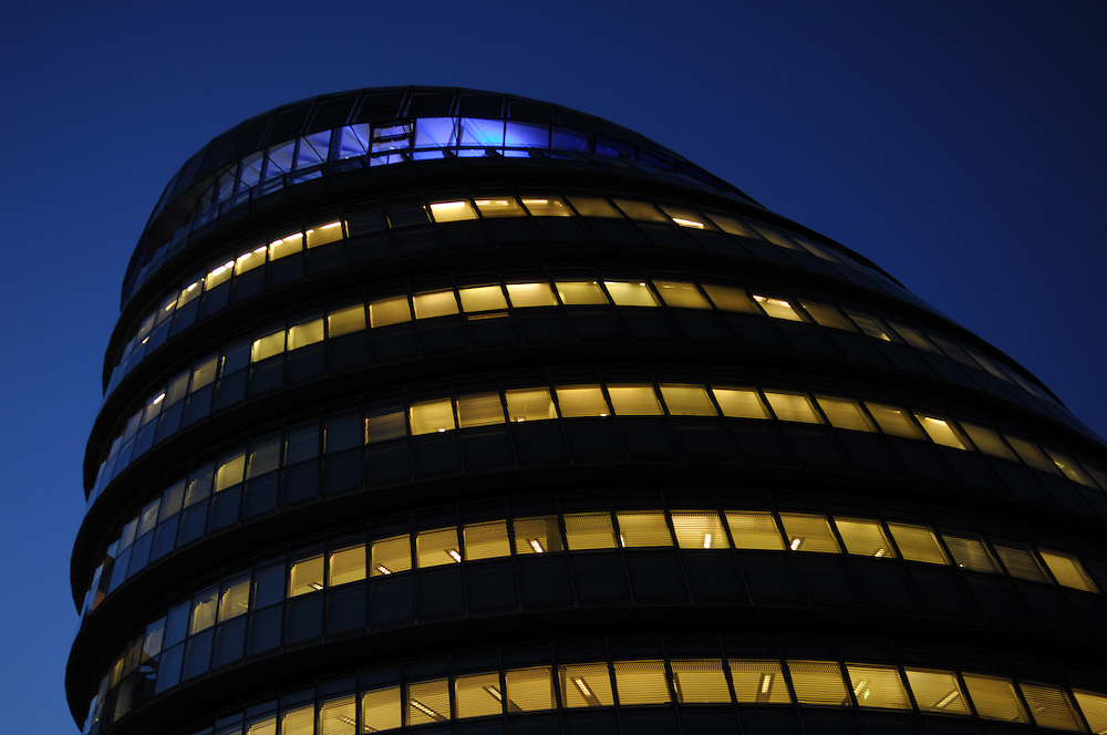 GLA headquarters photographed at night