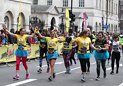 Runners reacts as they come up to the finish line of the 2018 London Landmarks Half Marathon. PRESS ASSOCIATION Photo. Picture date: Sunday March 25, 2018. Photo credit should read: John Walton/PA Wire