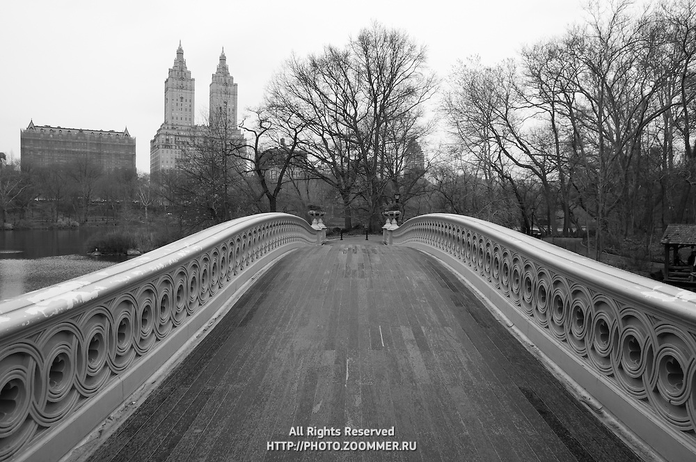 Black and white bridge over the pond in Central park in early spring