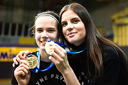 Polona Marusic of Calcit Volley and Ana Marija Vovk of Calcit Volley with medals after 3rd Leg Volleyball match between Calcit Volley and Nova KBM Maribor in Final of 1. DOL League 2020/21, on April 17, 2021 in Sportna dvorana, Kamnik, Slovenia. Photo by Matic Klansek Velej / Sportida