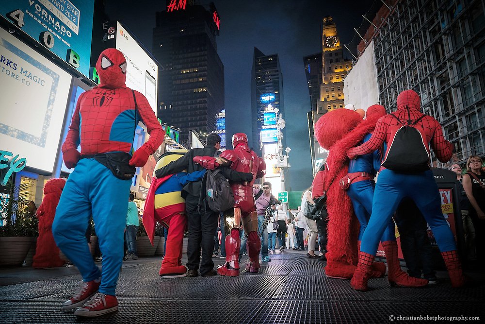 Spiderman is the most popular here among the costumed characters.