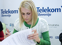 Sabina Veit when Slovenian athletes and their coaches sign contracts with Athletic federation of Slovenia for year 2009,  in AZS, Ljubljana, Slovenia, on March 2, 2009. (Photo by Vid Ponikvar / Sportida)