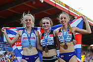 Silver medalist Jemma REEKIE, gold medalist Sarah MCDONALD and bronze medalist Dani CHATTENTON after the Women's 1500m Final during the Muller British Athletics Championships at Alexander Stadium, Birmingham, United Kingdom on 25 August 2019.