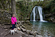 A dog owner and walker at the Yorkshire Dales waterfall called Janets Foss on 12th April 2017, in Malham, Yorkshire, England. Janets Foss is a small waterfall in the vicinity of the village of Malham, North Yorkshire, England. It carries Gordale Beck over a limestone outcrop topped by tufa into a deep pool below. The pool was traditionally used for sheep dipping, an event which took on a carnival air and drew the village inhabitants for the social occasion. The name Janet sometimes Jennet is believed to refer to a fairy queen held to inhabit a cave at the rear of the fall. A foss is an old Norse word meaning waterfall.