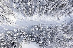 THEMENBILD - Schneebedeckte Bäume im Wald entlang der Kalser Glocknerstrasse, am Donnerstag 10. Dezember 2020 in Kals. Luftbild mit einer Drohnen nach den starken Schneefällen welche vom 5. bis 8. Dezember 2020 für grosse Neuschneemengen in Oberkärnten und Osttirol sorgten // Snow covered trees in the forest along the Kalser Glockner road, on Thursday December 10, 2020 in Kals. Photo taken with a drone after the heavy snowfalls which caused large amounts of new snow in Upper Carinthia and East Tyrol from December 5th to 8th, 2020. EXPA Pictures © 2020, PhotoCredit: EXPA/ Johann Groder