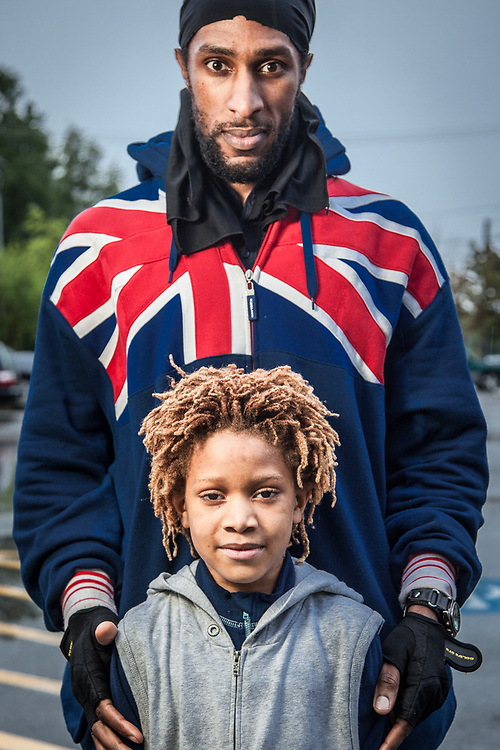 Valdimir Lesperance with his six year old son, Alucard, in front of the City Market, Anchorage  les907@hotmail.com