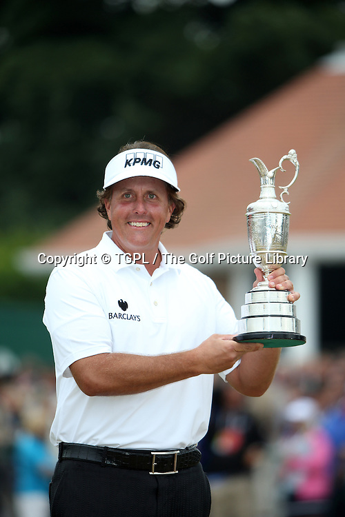 Phil MICKLESON (USA) and the famous Claret jug trophy during fourth round Open Championship 2013,Muirfield,Gullane,East Lothian,Scotland.