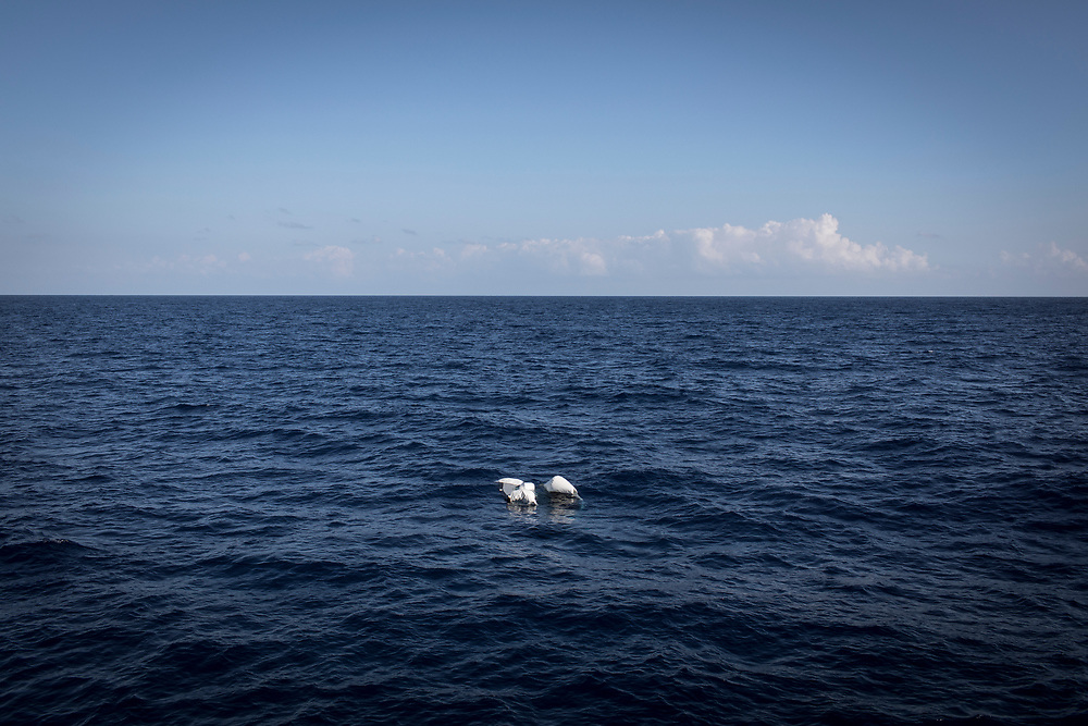 June 2017, Central Mediterranean. Sunken rubber boats found in the SAR zone. NGO Proactiva Open Arms in their 20th rescue mission in the Central Mediterranean Sea on board of Golfo Azzurro vessel (photo Edu Bayer)