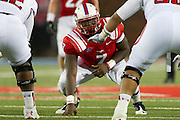DALLAS, TX - AUGUST 30: Elie Nabushosi of the SMU Mustangs looks on against the Texas Tech Red Raiders on August 30, 2013 at Gerald J. Ford Stadium in Dallas, Texas.  (Photo by Cooper Neill/Getty Images) *** Local Caption *** Elie Nabushosi