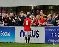 Football - 2021 / 2022 Emirates FA Cup - First Round Qualifying - Bootle vs. FC United of Manchester - Berry Street Garage Stadium - Saturday 4th September 2021<br /> <br /> Michael Potts the FC United captain chats with the travelling fans after the game, at the Berry Street Garage Stadium.<br /> <br /> COLORSPORT/Alan Martin
