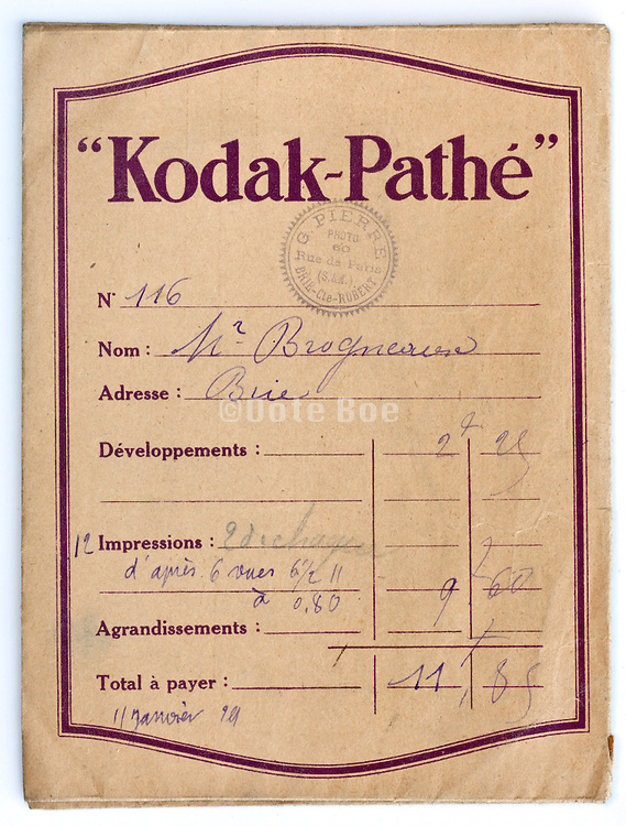 vintage Kodak film and prints envelope 1910s