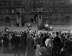 The Royal car leaving Buckingham Palace at the commencement of King George VI and Queen Elziabeth's State drive in celebrateion oftheir Silver Wedding anniversary.