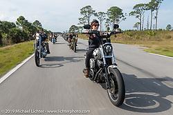 Savannah Rose riding a custom Harley-Davidson FXR on a ride to Cape Canaveral during Daytona Beach Bike Week, FL. USA. Monday, March 11, 2019. Photography ©2019 Michael Lichter.