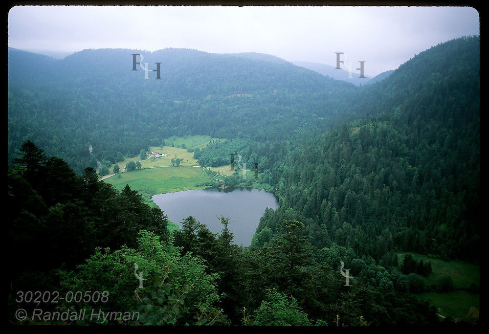 View of Lac de Retournemer from Roche du Diable in the Vosges Mountains near Xonrupt-Longemer. France