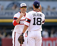 CHICAGO - AUGUST 28:  J.B. Shuck #20 (L) and Tyler Saladino #18 of the Chicago White Sox celebrate after the game against the Seattle Mariners on August  28, 2016 at U.S. Cellular Field in Chicago, Illinois.  The White Sox defeated the Mariners 4-1.  (Photo by Ron Vesely/MLB Photos via Getty Images)  *** Local Caption *** J.B. Shuck; Tyler Saladino