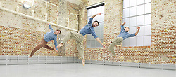 Balletboyz<br /> studio rehearsal for 'Young Men' at the BalletBoyz dance studio in Kingston, Surrey, Great Britain <br /> 16th September 2015 <br /> <br /> performed in costume :<br /> <br /> Edward Pearce<br /> Marc Galvez<br /> Bradley Waller <br /> <br /> <br /> 'YOUNG MEN' <br /> Press nights:  October 6th and 7th 2015 at Sadler's Wells, London.<br /> <br /> <br /> <br /> Directors/Producers:  Michael Nunn and William Trevitt<br /> Choreography:   Iván Pérez<br /> <br /> Photograph by Elliott Franks <br /> Image licensed to Elliott Franks Photography Services
