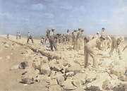 Machine colorized (AI) A group of Jewish Pioneers (Chalutzim) Road building in the Negev Desert. Photographed in Palestine / Israel circa 1940