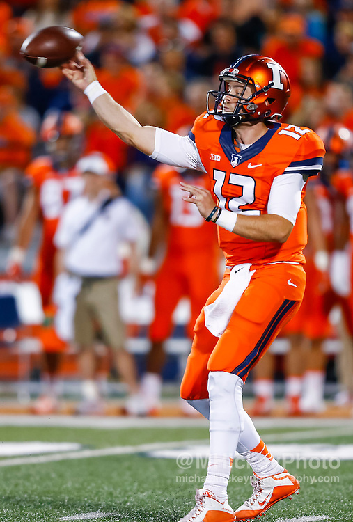 CHAMPAIGN, IL - SEPTEMBER 10: Wes Lunt #12 of the Illinois Fighting Illini drops back to throw during the game against the North Carolina Tar Heels at Memorial Stadium on September 10, 2016 in Champaign, Illinois. (Photo by Michael Hickey/Getty Images) *** Local Caption *** Wes Lunt