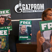 Greenpeace picket  Gazprom London HQ  defence of the 30 Greenpeace activists arrested and detained in Russia. Gazprom, with it's appalling health and safety record is about to start drilling in the Arctic as one of the first big oil companies. The Arctic 30 were arrested and the ship the Arctic Sunrise ceased by armed Russian special forces in international waters in the Arctic after Greenpeace peacefully tried to scale a Gazprom oil rig to prevent it from drilling for oil in the highly sensitive arctic sea. The peacefull activist were met with coastal guards and special forces armed knives and guns. The Russian authorities threatened to sink the Greenpeace inflatables and fired warning shots in the sea and over the unarmed activists. All thirty are now facing charges of piracy, highly trumped up and distorted charges, and are kept on remand in Murmansk for 2 months pending investigations in to their alleged crimes.