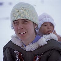 BAFFIN ISLAND, Nunavut, Canada. Beverly Illuaq & her daughter in Clyde River.
