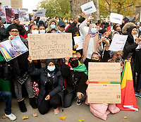 protest , outside of 10 Downing street  against police brutality after President Alpha Conde was re-elected for the third time in Guinea  October 24, 2020 photo By Brian Jordan