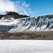 Thick fields of ice in a glacier on the plateau near Crater Camp (18,810) feet, just below Kibo Summit, on Mt Kilimanjaro.
