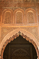 The arabesque mocarabe plasterwork  of the Saadian Tombs the 16th century mausoleum of the Saadian rulers, Marrakech, Morroco .<br /> <br /> Visit our MOROCCO HISTORIC PLAXES PHOTO COLLECTIONS for more   photos  to download or buy as prints https://funkystock.photoshelter.com/gallery-collection/Morocco-Pictures-Photos-and-Images/C0000ds6t1_cvhPo<br /> .<br /> <br /> Visit our ISLAMIC HISTORICAL PLACES PHOTO COLLECTIONS for more photos to download or buy as wall art prints https://funkystock.photoshelter.com/gallery-collection/Islam-Islamic-Historic-Places-Architecture-Pictures-Images-of/C0000n7SGOHt9XWI