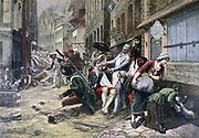 Illustration commemorating the centenary of the failed Siege of Lille by the Austrians and the Prussians in 1792 during War of the First Coalition.    From 'Le Petit Journal', Paris, 15 October 1892.  France