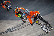 #181 during practice at the 2018 UCI BMX World Championships in Baku, Azerbaijan.