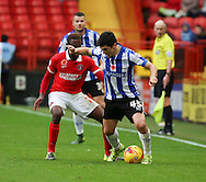Sheffield Wednesday striker Fernando Forestieri trying to sheild the ball during the Sky Bet Championship match between Charlton Athletic and Sheffield Wednesday at The Valley, London, England on 7 November 2015. Photo by Matthew Redman.