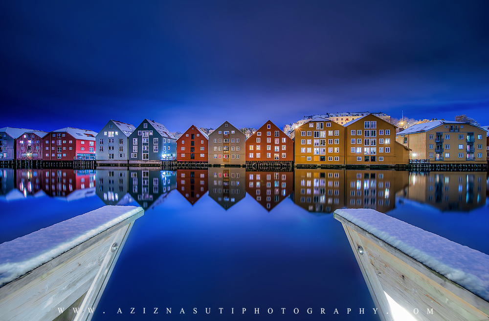 Beautiful Scenery over Trondheim wooden Houses!