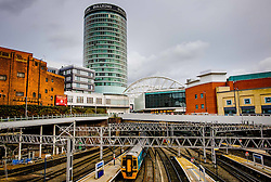 The Rotunda at the Bullring shopping centre in Birmingham, England, UK with New Street Station in the foreground<br /> <br /> (c) Andrew Wilson | Edinburgh Elite media