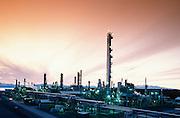 Alaska. Kenai Peninsula. Evening views of Tesoro's petroleum refinery.