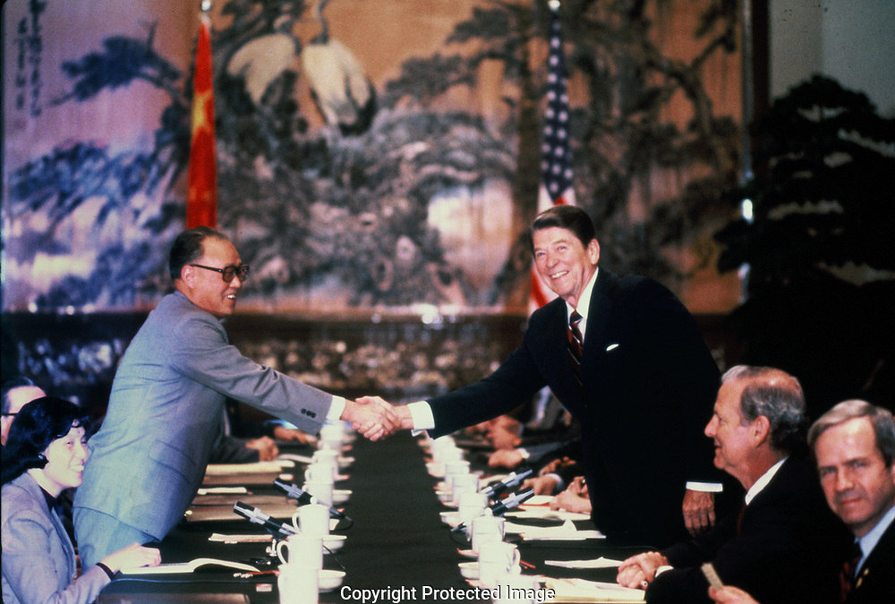 President Reagan shakes hands with Chinese Premier - Zhao Ziyang during the visit of President Ronald Reagan to China  in April 1984.<br /> Photo by Dennis Brack