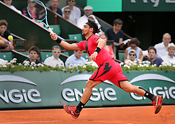 June 4, 2018 - Paris, France - FABIO FOGNINI of Italy plays against Marin Cilic of Croatia during their 8th final match of the French Tennis Open 2018 at Roland Garros.  Cilic won 6-4, 6-1, 3-6, 6-7, 6-3  (Credit Image: © Maya Vidon-White via ZUMA Wire)