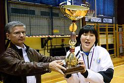 Franjo Bobinac and Ljudmila Bodnjeva at last 10th Round handball match of Slovenian Women National Championships between RK Krim Mercator and RK Olimpija, on May 15, 2010, in Galjevica, Ljubljana, Slovenia. Olimpija defeated Krim 39-36, but Krim became Slovenian National Champion. (Photo by Vid Ponikvar / Sportida)